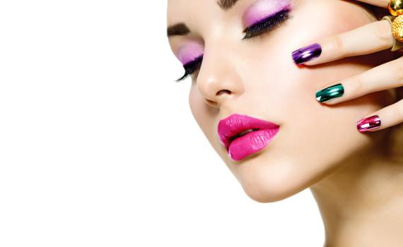Fashion Beauty. Manicure and Make-up. Nail Art